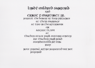 Wedding Invite: Lindy and Ernst